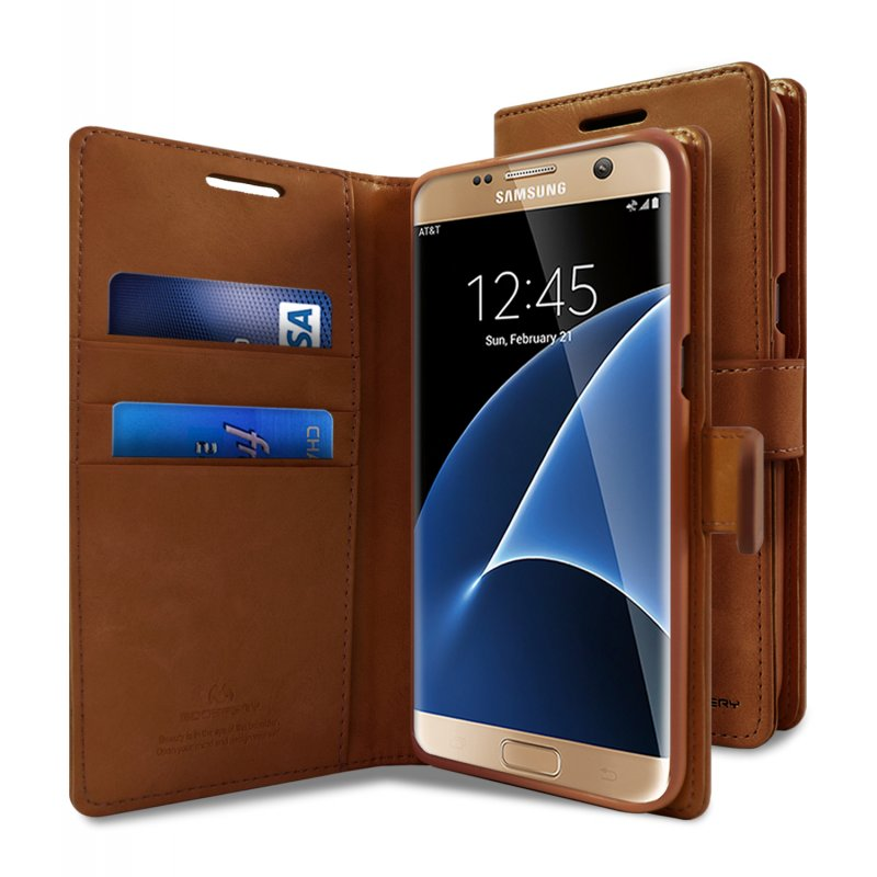 91cda675468 Samsung Galaxy S7 Edge Bluemoon Wallet Case Brown