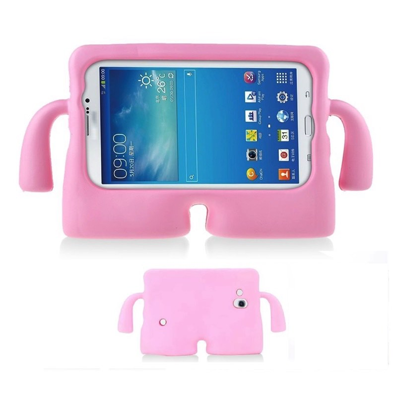 best service a53cd 87c55 Samsung Galaxy Tab A 7'' Case for Kids Rubber Shock Proof Cover with Carry  Handle BabyPink