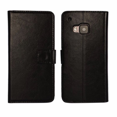 HTC One M9 PU Leather Wallet Case Black