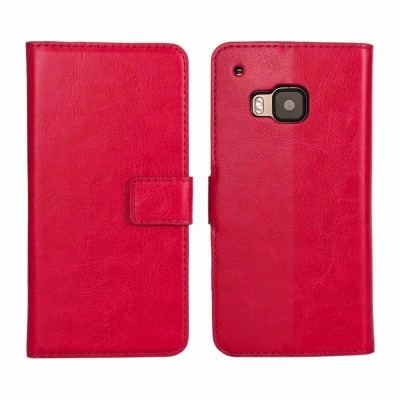 HTC One M9 PU Leather Wallet Case Pink