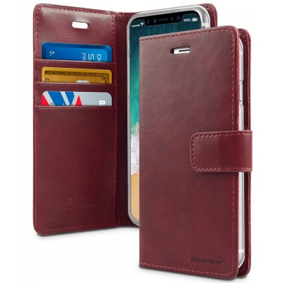 iPhone X Case Goospery Bluemoon Diary Case Wine Red