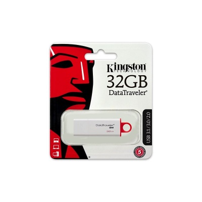 Kingston DTIG4/32GB Data Traveler G4 USB 3.1 Gen 1 (USB 3.0) Flash Drive 32 GB, Red, White