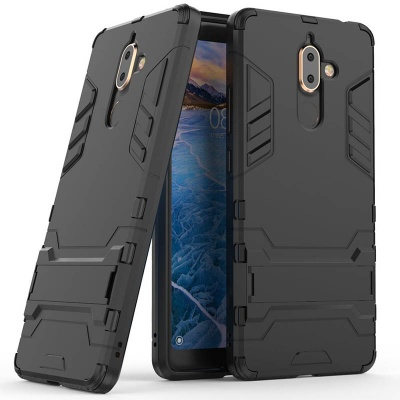 Nokia 7 Plus Dual Layer Armor Hard Slim Hybrid Kickstand Cover Black