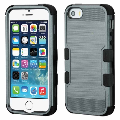 iPhone SE/5S/5 MyBat Dark Gray Brushed/Black TUFF Hybrid Phone Protector Cover
