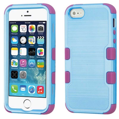 iPhone SE/5S/5 MyBat Metallic Baby Blue Brushed/Electric Purple TUFF Hybrid Phone Protector Cover