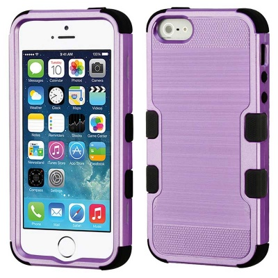 iPhone SE/5S/5 MyBat  Purple Brushed/Black TUFF Hybrid Phone Protector Cover