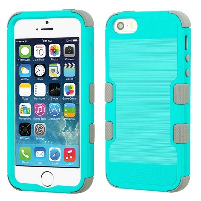 iPhone SE/5S/5 MyBat Teal Green Brushed/Iron Gray TUFF Hybrid Phone Protector Cover