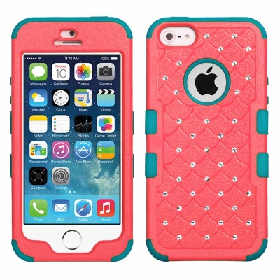 iPhone SE/5S/5 MyBat Natural Baby Red/Tropical Teal FullStar TUFF Hybrid Protector Cover