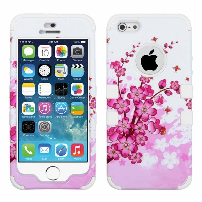iPhone SE/5S/5 MyBat  Spring Flowers/Solid White TUFF Hybrid Phone Protector Cover