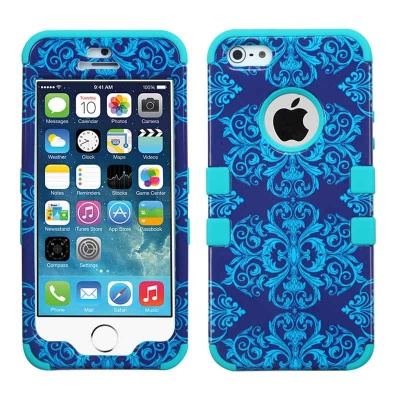 iPhone SE/5S/5 MyBat Purple/Blue Damask/Tropical Teal TUFF Hybrid Phone Protector Cover