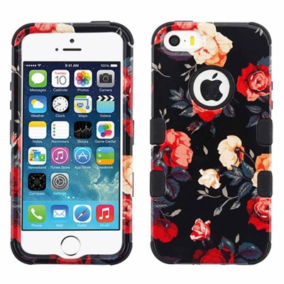 iPhone SE/5S/5 MyBat Red and White Roses/Black TUFF Hybrid Phone Protector Cover