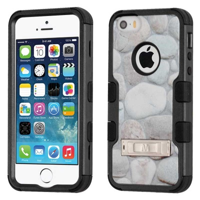 iPhone SE/5S/5 MyBat Rocky Pebbles/Black TUFF Hybrid Protector Cover (with Stand)