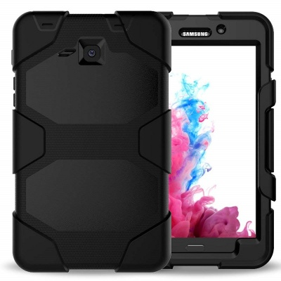 Samsung Galaxy Tab A 7.0 Inch Three Layer Heavy Duty Shockproof Protective with Kickstand Bumper Case Black