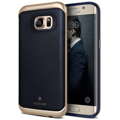 Samsung Galaxy S7 Edge Caseology Envoy Series Case - Leather Navy Blue