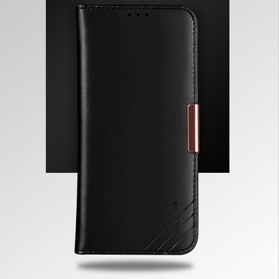 iPhone 7 Plus / iPhone 8 Plus Case Genuine Leather Wallet- Black