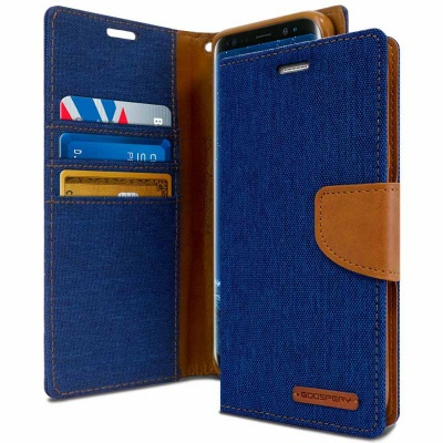 Samsung Galaxy J6 2018 Goospery Canvas Diary Case Blue