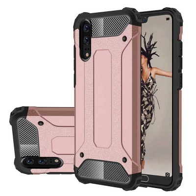 Huawei P20 Dual Layer Hybrid Soft TPU Shock-absorbing Protective Cover RoseGold