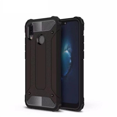Huawei P20 Lite Dual Layer Hybrid Soft TPU Shock-absorbing Protective Cover Black