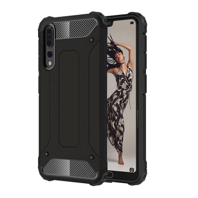 Huawei P20 Pro Dual Layer Hybrid Soft TPU Shock-absorbing Protective Cover Black