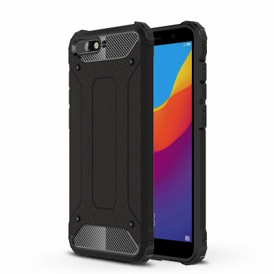 Huawei Y6(2018) Dual Layer Hybrid Soft TPU Shock-absorbing Protective Cover Black