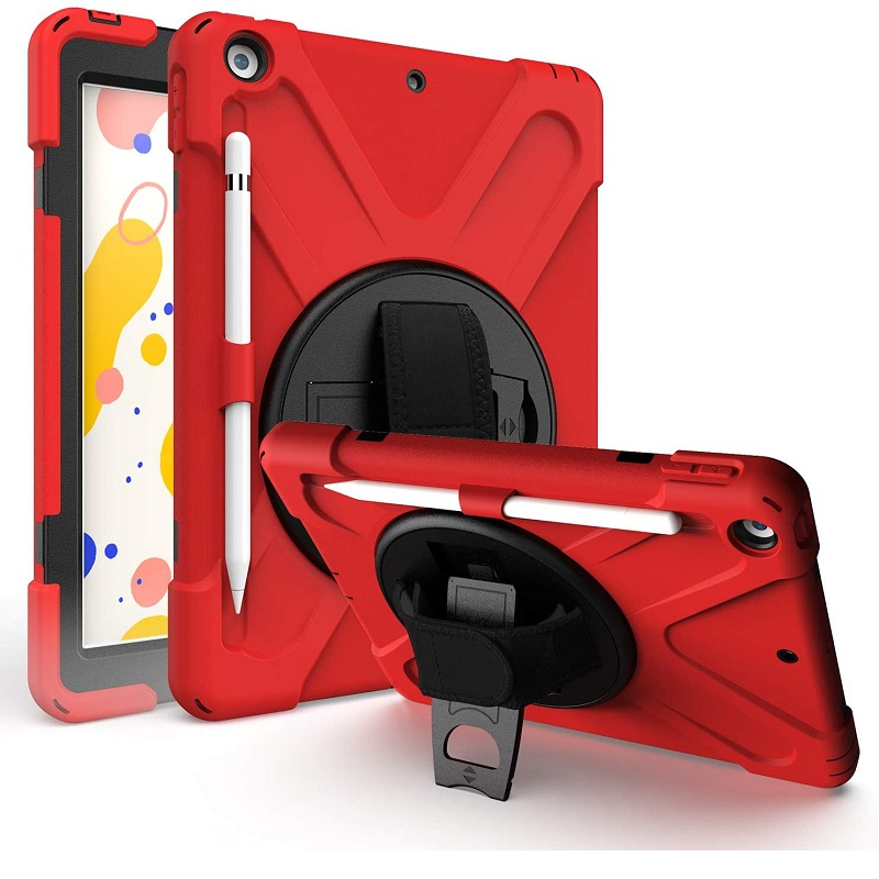 iPad 10.2 Inch 2019 Shockproof Cover With Strap Holder| Red