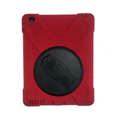 iPad 2/3/4  Three Layer Heavy Duty Shockproof Protective with Kickstand Bumper Case Red