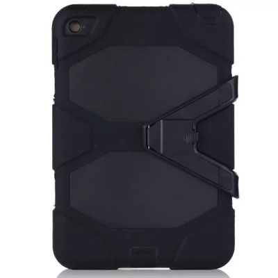 iPad Mini 4  Three Layer Heavy Duty Shockproof Protective with Kickstand Bumper Case Black