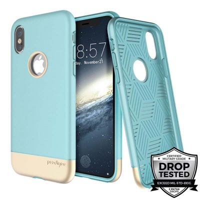 iPhone X Prodigee Fit Pro Series Cover Aqua/Gold