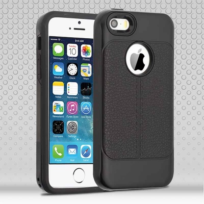 iPhone SE/5S/5 Black Leather Texture/Black Hybrid Protector Cover