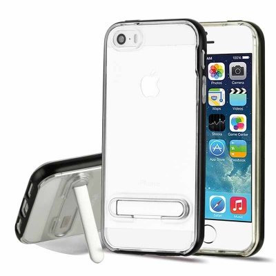 iPhone SE/5S/5 Black/Transparent Clear Hybrid Protector Cover (with Magnetic Metal Stand)