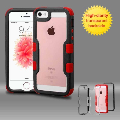 iPhone SE/5S/5 MyBat  Natural Black Frame+Transparent PC Back/Red TUFF Vivid Hybrid Protector Cover