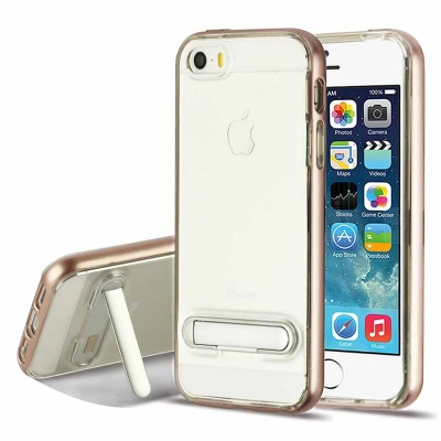 iPhone SE/5S/5 RoseGold/Transparent Clear Hybrid Protector Cover (with Magnetic Metal Stand)