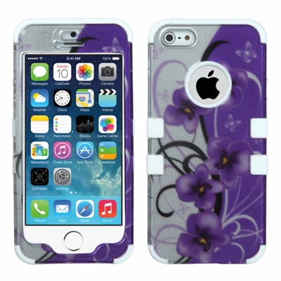 iPhone SE/5S/5 MyBat  Twilight Petunias (2D Silver)/Solid White TUFF Hybrid Phone Protector Cover