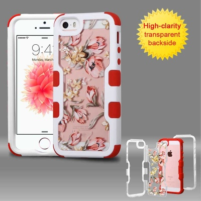iPhone SE/5S/5 MYBAT Natural Ivory White Frame+Transparent Painted Flowers PC Back/Red TUFF Vivid Hybrid Protector Cover