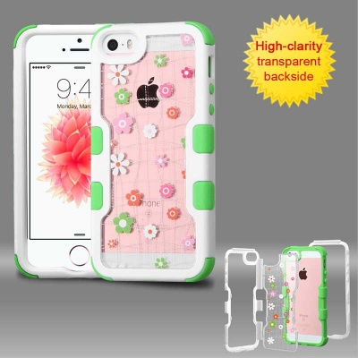 iPhone SE/5S/5 MYBAT Natural Ivory White Frame+Transparent Tiny Blossoms PC Back/Electric Green TUFF Vivid Hybrid Protector Cover