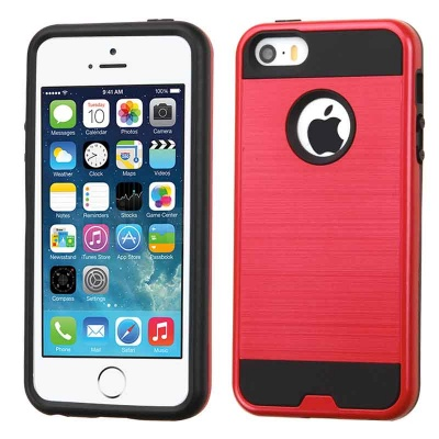 iPhone SE/5S/5 MyBat ASMYNA  Red/Black Brushed Hybrid Protector Cover