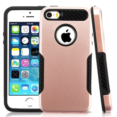 iPhone SE/5S/5 MyBat ASMYNA Rose Gold/Black Hybrid Protector Cover