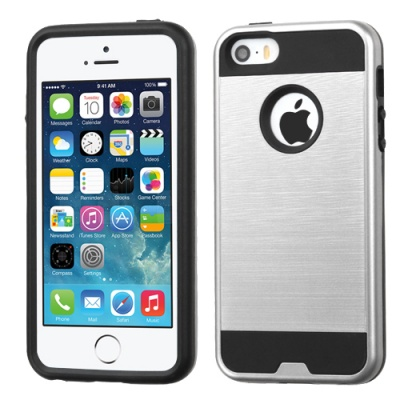 iPhone SE/5S/5 MyBat ASMYNA Silver/Black Brushed Hybrid Protector Cover