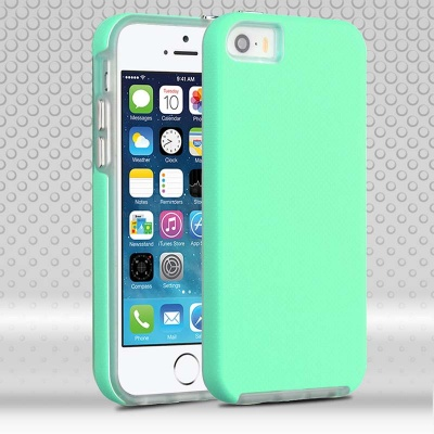 iPhone SE/5S/5 MyBat Teal Green Dots Textured/Transparent Clear Fusion Protector Cover
