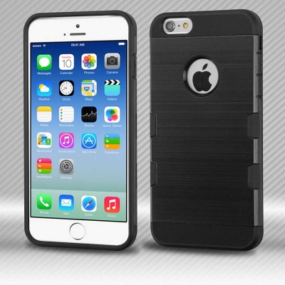 iPhone 6/6s MYBAT Black/Black Brushed TUFF Trooper Hybrid Protector Cover