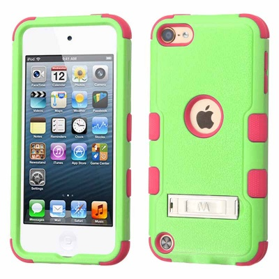 iPod Touch (6th Generation) MYBAT TUFF Hybrid Protector Cover Natural Pearl Green/Electric Pink(With Stand)