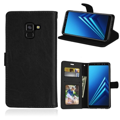 Samsung Galaxy A8(2018) PU Leather Wallet Case Black