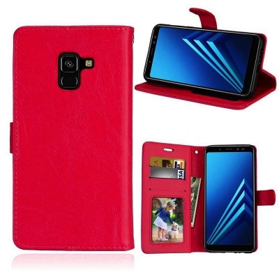 Samsung Galaxy A8(2018) PU Leather Wallet Case Red