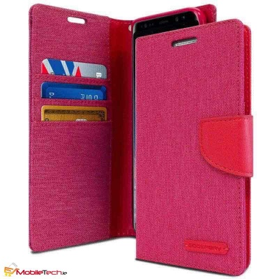 Samsung Galaxy A8(2018) Goospery Canvas Diary Case Pink