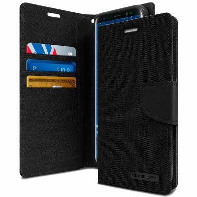 Samsung Galaxy J6 Plus 2018 Canvas Wallet Case Black