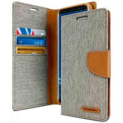 Samsung Galaxy J6 Plus 2018 Canvas Wallet Case Grey