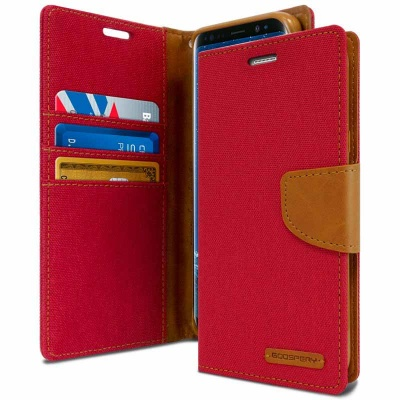 Samsung Galaxy J6 Plus 2018 Canvas Wallet Case Red