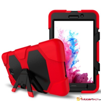 Samsung Galaxy Tab A 7 Inch T280 / T285 Three Layer Heavy Duty Shockproof Protective with Kickstand Bumper Case Red