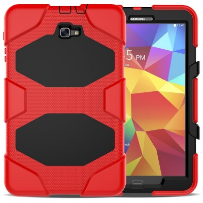 Samsung Galaxy Tab A Case 10.1 T580 - Heavy Duty Rugged  Shockproof Drop Protection Cover With Kickstand Red