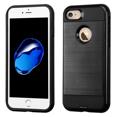 iPhone 7 / iPhone 8 Case ASMYNA Brushed Hybrid Protector- Black